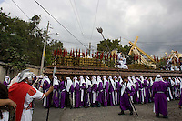 The Procesión La Reseña  moves through Espiritu Santo in Antigua, Guatemala. Easter week in Guatemala features lavish, devoted celebrations and throngs of tourists travel to Antigua for the occasion.