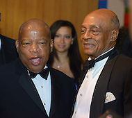 September 24, 2011  (Washington, DC)    Representative John Lewis (D-GA) (left) posses for a picture after the Phoenix Awards Dinner.  The Phoenix Award is given to individuals that positively impact the African-American experience.  The Dinner concluded a week-long series of activities and panel discussions during the 41st Annual Legislative Conference of the Congressional Black Caucus Foundation.   (Photo by Don Baxter/Media Images International)