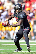 College Park, MD - OCT 15, 2016: Maryland Terrapins quarterback Tyrrell Pigrome (3) looks downfield for a man during game between Maryland and Minnesota at Capital One Field at Maryland Stadium in College Park, MD. (Photo by Phil Peters/Media Images International)