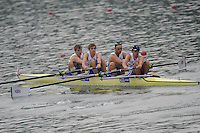 Ottensheim, AUSTRIA.  GBR JM4-, Bow, Jack MORRISSy, William PERHAM, Patrick LAPAGE and Kieren EMERY,  morning semi final, as the crew moves away from the start pontoon, at the 2008 FISA Senior and Junior Rowing Championships,  Linz/Ottensheim. Friday,  25/07/2008.  [Mandatory Credit: Peter SPURRIER, Intersport Images] Rowing Course: Linz/ Ottensheim, Austria