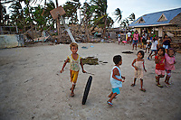 Kids playing on Panagatan, Caluya. This area ws hit very hard by Typhoon Yolanda (Haiyan).