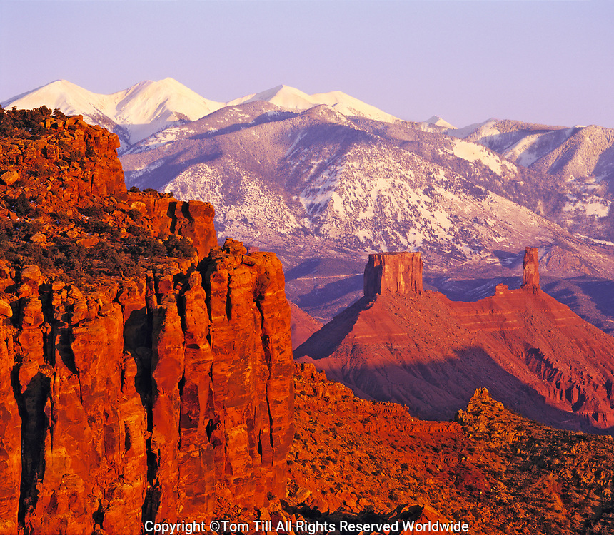 Castle Rock and La Sal Mountains, Seen from Dome Plateau, Above Colorado River, Utah