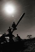 Ethiopia, India Selassie, Shire, Children play, tank, bw