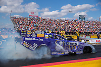 Oct 15, 2016; Ennis, TX, USA; NHRA funny car driver Jack Beckman during qualifying for the Fall Nationals at Texas Motorplex. Mandatory Credit: Mark J. Rebilas-USA TODAY Sports