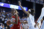23 March 2015: Ohio State's Alexa Hart (left) and North Carolina's N'Dea Bryant (right). The University of North Carolina Tar Heels hosted the Ohio State University Buckeyes at Carmichael Arena in Chapel Hill, North Carolina in a 2014-15 NCAA Division I Women's Basketball Tournament second round game. UNC won the game 86-84.