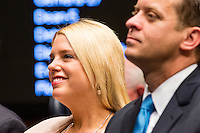TALLAHASSEE, FLA. 11/18/14-ORGSESS111814CH-Attorney General Pam Bondi listens during the Organizational Session of the legislature, Nov. 18, 2014 at the Capitol in Tallahassee.<br /> <br /> COLIN HACKLEY PHOTO