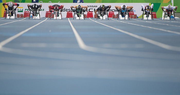 RIO DE JANEIRO - 12/9/2016:  Austin Smeenk competes in the Men's 100m - T34 Final at the Olympic Stadium during the Rio 2016 Paralympic Games in Rio de Janeiro, Brazil. (Photo by Matthew Murnaghan/Canadian Paralympic Committee