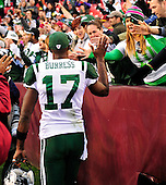New York Jets wide receiver Plaxico Burress (17) celebrates his team's 34 -19 victory over the Washington Redskins with Jets fans at FedEx Field in Landover, Maryland on Sunday, December 4, 2011. .Credit: Ron Sachs / CNP.(RESTRICTION: NO New York or New Jersey Newspapers or newspapers within a 75 mile radius of New York City)