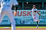 8 July 2012: Vermont Lake Monsters infielder Christopher Bostick in action against the State College Spikes at Centennial Field in Burlington, Vermont. The Lake Monsters rallied from a 2-0 late inning deficit, to defeat the Spikes 8-2 in NY Penn League action. Mandatory Credit: Ed Wolfstein Photo