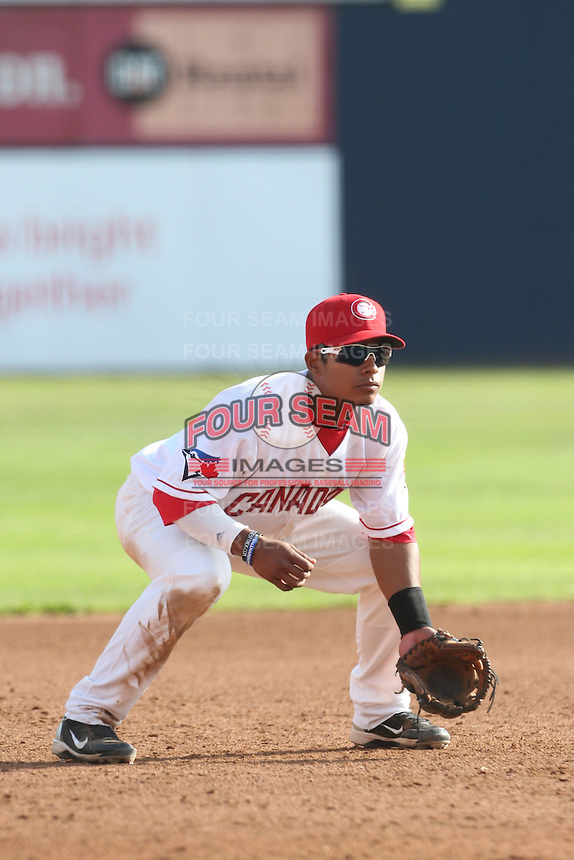 Alexis Maldonado #5 of the Vancouver Canadians during a game against the Hillsboro Hops at Nat Bailey Stadium on July 24, 2014 in Vancouver, British Columbia. Hillsboro defeated Vancouver, 7-3. (Larry Goren/Four Seam Images)