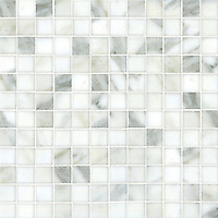 "Gridded 2"", a hand-cut stone mosaic, shown in polished Calacatta."