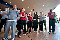 NORFOLK, VA--The Stanford Cardinal cheers during a pregame sendoff at the Sheraton Hotel before taking on West Virginia at the Ted Constant Convocation Center at Old Dominion University for the second round of the 2012 NCAA Championships.