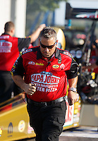 Sep 23, 2016; Madison, IL, USA; Crew member for NHRA top fuel driver Leah Pritchett during qualifying for the Midwest Nationals at Gateway Motorsports Park. Mandatory Credit: Mark J. Rebilas-USA TODAY Sports