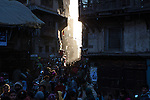 Evening light shining down the streets of  Kathmandu, Nepal