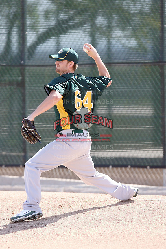 Justin Souza. Oakland Athletics spring training workouts at the Athletics complex, Phoenix, AZ - 02/25/2010 & 02/26/2010.Photo by:  Bill Mitchell/Four Seam Images.