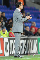 Cardiff City Stadium, Friday 11th Oct 2013. Wales manager Chris Coleman applaudes his teams goal during the Wales v Macedonia FIFA World Cup 2014 Qualifier match at Cardiff City Stadium, Cardiff, Friday 11th Oct 2014. All images are the copyright of Jeff Thomas Photography-07837 386244-www.jaypics.photoshelter.com