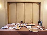 France. Department Ile-de-France. Paris. Back room of the deluxe restaurant Pavillon Ledoyen. Table with food ready to be served. 13.07.2011 © 2011 Didier Ruef ..
