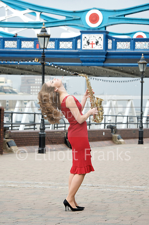 Amy Dickson <br /> promoting her new album Dusk &amp; Dawn <br /> press photocall<br /> at Tower Bridge, London, Great Britain <br /> 20th March 2013 <br /> <br /> <br /> Amy Dickson <br /> <br /> <br /> <br /> <br /> Photograph by Elliott Franks