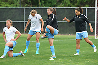 Piscataway, NJ - Saturday May 20, 2017:  Christie Pearce, Erica Skroski, Mckenzie Meehan, Raquel Rodriguez prior to a regular season National Women's Soccer League (NWSL) match between Sky Blue FC and the Houston Dash at Yurcak Field.  Sky Blue defeated Houston, 2-1.