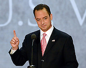 Chairman of the Republican National Committee Reince Priebus asks for attention after recessing the opening session of the 2012 Republican National Convention in Tampa Bay, Florida on Monday, August 27, 2012.  .Credit: Ron Sachs / CNP.(RESTRICTION: NO New York or New Jersey Newspapers or newspapers within a 75 mile radius of New York City)