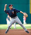 4 September 2009: Minnesota Twins' rookie second baseman Matt Tolbert warms up prior to a game against the Cleveland Indians at Progressive Field in Cleveland, Ohio. The Indians defeated the Twins 5-2 to take the first game of their three-game weekend series. Mandatory Credit: Ed Wolfstein Photo