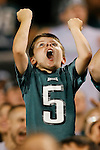 A Philadelphia Eagles fan cheers during the preseason NFL game between the New England Patriots and the Philadelphia Eagles. The Patriots won 27-25 at Lincoln Financial Field in Philadelphia, Pennsylvania. (Photo by Brian Garfinkel)