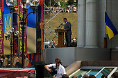 Kiev, Ukraine.August 24, 2005 ..Independence Day in Kiev, Ukraine. President Yushchinko gives a speech for the ceremonies on the Miadan Square...