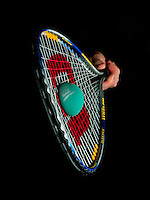 High speed photography of the collision of a racket with a racquetball, showing compression of the ball as well as stretching of the strings.