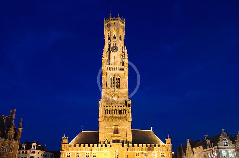 Belgium, Bruges, Belfry tower, night scene