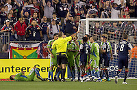 Tempers flare in the second half. The New England Revolution defeated the Seattle Sounders FC, 3-1, at Gillette Stadium on September 4, 2010.