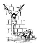 (Prisoner hanging in irons in cell whose length being marked on the wall by guard)