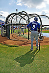15 March 2008: Los Angeles Dodgers' outfielder Juan Pierre awaits his turn in the batting cage prior to a Spring Training game against the Washington Nationals at Space Coast Stadium, in Viera, Florida...Mandatory Photo Credit: Ed Wolfstein Photo
