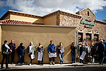 Supporters line up early to see GOP presidential candidate Newt Gingrich at a campaign event at Great Basin Brewing Company in Reno, Nevada, February 1, 2012.