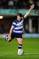 George Ford of Bath Rugby kicks for the posts. Aviva Premiership match, between Bath Rugby and Sale Sharks on October 7, 2016 at the Recreation Ground in Bath, England. Photo by: Patrick Khachfe / Onside Images