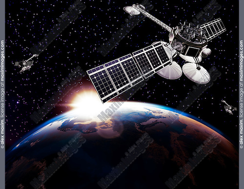 Communication satellites, Comsat, above Earth globe lit by the rising Sun on black starry sky background. Space internet and telecommunications conceptual 3D illustration.