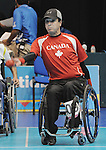 November 16 2011 - Guadalajara, Mexico:  Marco Dispaltro on his was to winning a silver medal in Boccia BC4 in the Multipurpose Gymnasium Revolución at the 2011 Parapan American Games in Guadalajara, Mexico.  Photos: Matthew Murnaghan/Canadian Paralympic Committee