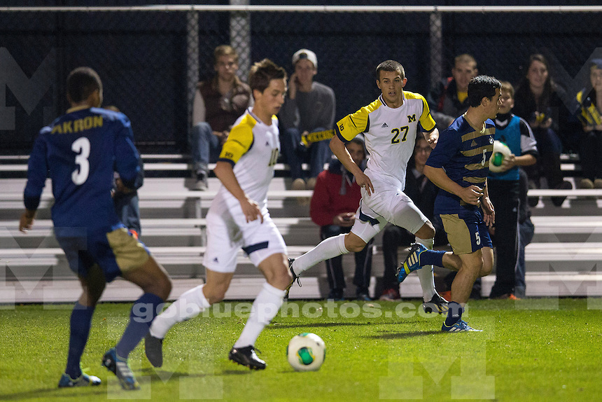 The University of Michigan men's soccer team lost to Akron, 2-1, at the UM Soccer Complex in Ann Arbor, Mich., on October 30, 2013.