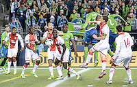 November, 2013: CenturyLink Field, Seattle, Washington:   as the Portland Timbers defeat  the Seattle Sounders FC 2-1 in the Major League Soccer Playoffs semifinals Round.