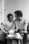 Patrick Procktor artist London 1969. PP and friend Mo McDermott having tea. They are in the process of decorating a room in the Manchester Street flat.