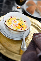 Close up of a fennel soup served with fresh rosemary leaves at the Riad Dar Darma in Marrakech