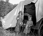 Westmoreland County PA:  Brady Jr and Helen Stewart posing for a photo while camping out along Route 30 in Westmoreland County - 1925