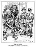"""Fire and Sword. """"This, mein Fuehrer, is the new uniform for our armies in Italy."""" (General Heinrich von Vietinghoff Scheel introduces a barbarian to Hitler, ready to destroy and murder)"""