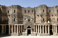 Main stage, Roman theatre with 12,000 seats, 102m wide, 150-200 AD, Bosra, Syria Picture by Manuel Cohen