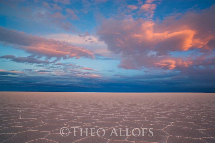 Bolivia, Altiplano, Salar de Uyuni, world's largest salt pan; detail; hexagons evolve a few months after salt pan has dried up; sunset
