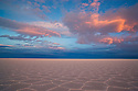 Bolivia, Altiplano, Salar de Uyuni, world's largest salt pan; detail; hexagons evolve a few months after salt pan has dried up; sunset
