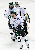 Justin Abdelkader (Michigan State - Muskegon, MI) and Ethan Graham (Michigan State - Xenia, OH) celebrate with Jeff Lerg (Michigan State - Livonia, MI). The Michigan State Spartans defeated the University of Maine Black Bears 4-2 in their 2007 Frozen Four semi-final on Thursday, April 5, 2007, at the Scottrade Center in St. Louis, Missouri.