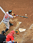 19 June 2011: Baltimore Orioles' third baseman Mark Reynolds connects for a solo home run in the top of the 6th inning against the Washington Nationals on Father's Day at Nationals Park in Washington, District of Columbia. The Orioles defeated the Nationals 7-4 in inter-league play, ending Washington's 8-game winning streak. Mandatory Credit: Ed Wolfstein Photo