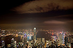 Hong Kong harbor as seen from Victoria's Peak at night. Hong Kong, China. NR. No restrictions.