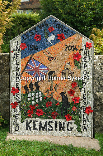 St Marys Church Kemsing Kent Uk. Kemsing was the birthplace in AD961 of Saint Edith of Wilton an illegitimate daughter of the Saxon King Edgar I. The well at the centre of the village is dedicated to her according to local legend her saintly presence has given the water healing properties. Annual pilgrimage to Well for well dressing plaque. September 2014.
