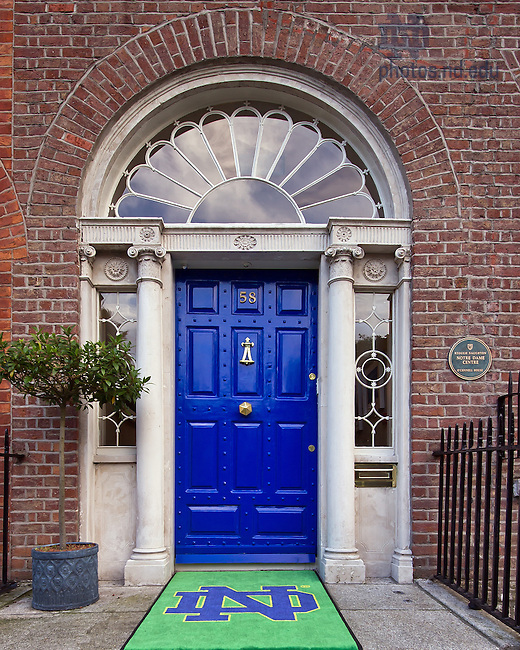 Aug. 29, 2012; Door of O'Connell House, Dublin, Ireland..Photo by Matt Cashore/University of Notre Dame